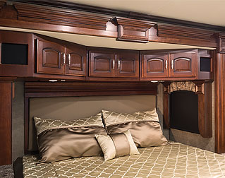 LIGHTED OVERHEAD BED CABINETS